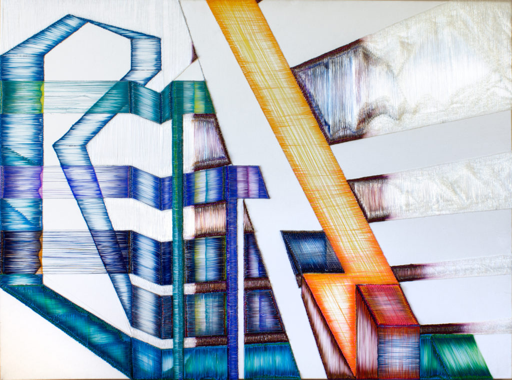 Docks I, 2019  — 36 x 48 inches<br />PLA plastic on canvas